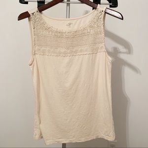 4/$24 - LOFT Cream Colored Tank Top - Medium